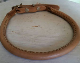 Rolled leather dog collar- Large