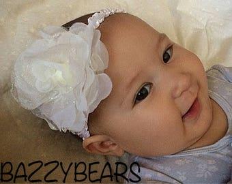 Newborn headband, wedding headband, flower girl headband, Rose headband, white headband, white baby headband, sparkling baby headband, roses