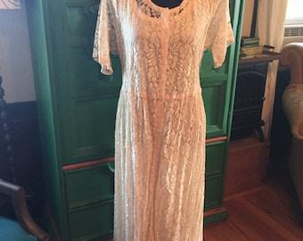Lace dress, tea length, champagne lace wedding dress