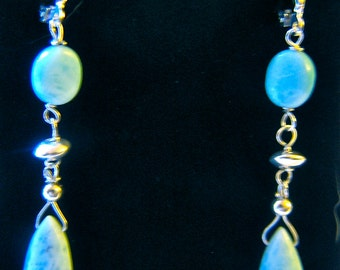 Beautiful Dominican Republic Larimar Silver Earrings with