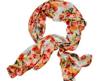 Floral scarf with light pink, coral and orange flowers - 'Coral'