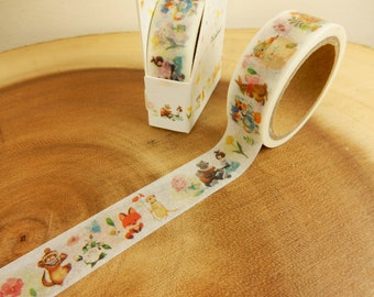 Woodland Washi Tape, Fairytale Woodland Animals, Scrapbooking Decal, Crafting Supplies, Japanese Tape, Cardmaking Tape, Cottage Chic