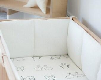 Linen crib bumpers – white cot bumper – bumper with laces - natural baby bedding - lin Lit bébé choc
