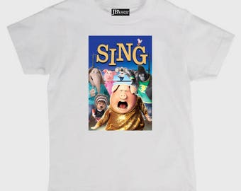 Childs tee shirt new cotton featuring hit family movie Sing on kids t shirt