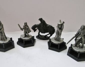 Vintage 1997 Set of 5 Lord of the Rings LOTR Collectible Pewter Figurines on Black Plastic Bases - Roleplaying RPG Miniatures - NLP Inc.