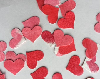 paper heart confetti, party decorations, Valentine's Day, watercolor hearts, red