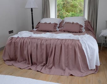 Linen Bed Cover, Linen Blanket, Linen Bed Throw, Ruffled Throw, Linen Bedspread - Gathers Either Side, White