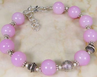 Pink Jade & 925 Sterling Silver Overlay