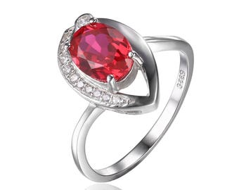 Blood Red Ruby 925 sterling silver Ring