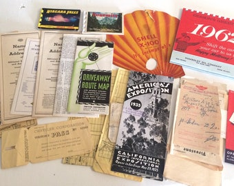 Lot of Vintage Automotive Memorabilia 1930-1960's AAA, Shell Oil, Auto Memorabilia , Car Culture
