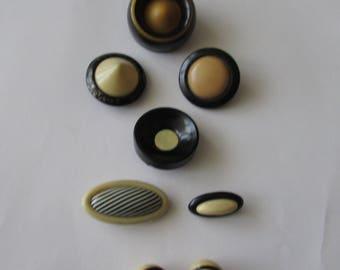 8 Vintage Cream & Black Celluloid Plastic Buttons Deco