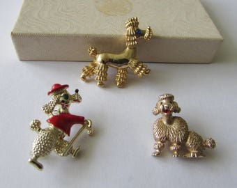 3 Vintage Little Poodle Pins Pin