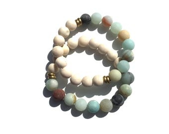 FRIENDSHIP STACK BRACELETS* matte riverstone & amazonite with gold accents