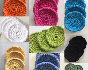 crochet scrubby - cotton scrubbies - organic skincare - face wash pad - bath accessory cotton set - face exfoliate - reusable face scrubbies