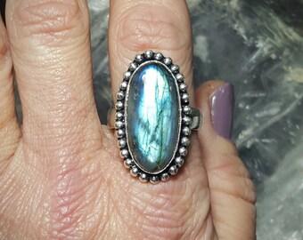 Labradorite Statement Ring ~ Size 9.5