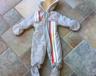 Vintage Baby Snowsuit - Baby Boy Snowsuit - Size 12 Months - London Fog Snowsuit - Race Car - Gray Snowsuit