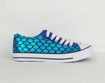 Mermaid shoes, custom shoes, women shoes, mermaid clothing , custom mermaid shoes, alternative, custom converse style pumps, gift for her