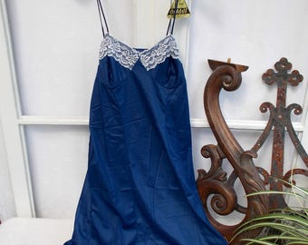 RESERVED **  Vintage French Slip, Petticoat, under slip,  NOS.  Old shop stock. Navy Blue nylon slip with White lace.  (dg148)