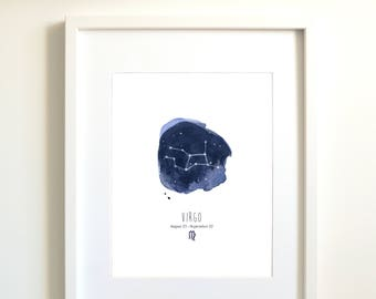 Virgo constellation | Virgo art | Virgo zodiac | personalized gift | astrology art | zodiac art print | Virgo star sign | sky | indigo blue