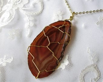 Agate pendant slice agate necklace Wrap agate Wire wrapped agate Brown agate pendant Everyday necklace Mom Gift for her Healing agate