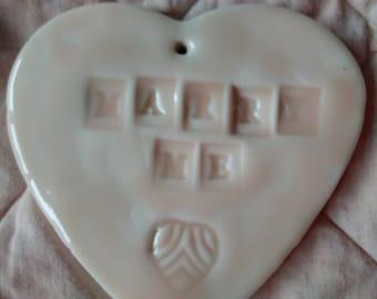 Porcelain decorative heart - Marry Me