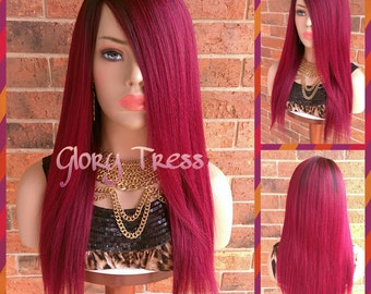 ON SALE/ 100% Brazilian Remy Human Hair, Long & Straight Full Wig, Ombre Burgundy, Yaki Texture, Lace Parting, BLESSED (Free Shipping)