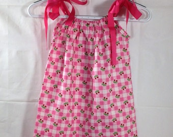 Cherries pillow case dress- Ready to ship  Size 3