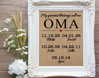 Oma mothers day gift, Mothers day gift, Gift for Oma, Oma Gift, Mother's Day Oma, Gift from grandchildren, German Grandma Gift, German Mom