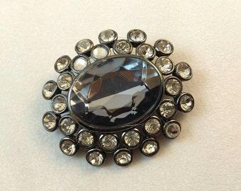 Vintage Crystal Rhinestone Rhodium Plated Brooch Pin