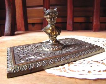 "Vintage Paperweight, ""Time is Money""  Mercury Figure, Roman god, Greek Mythology, Hermes, Benjamin Franklin Phrase 1700's, Metal Paperweight"