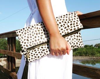 Monochrome dalmatian clutch, leopard fold over clutch, leopard print, leopard leather clutch, leather clutch, leopard purse, leather purse