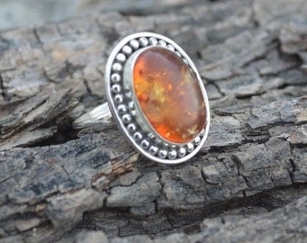 Natural Rare Fossil Amber Gemstone 925 Sterling Silver Ring Size 7.5, Handmade Artisan Ring Jewelry,  Birthstone Amber Fossil Ring 7.5