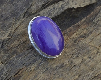 Oval Cab Purple Agate Gemstone 925 silver Ring , Oval Agate Ring Size 6.5