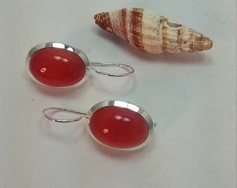 Silver carnelian earrings set in 92.5 sterling silver, boho, free shipping