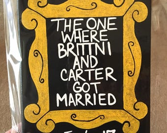 Personalized Wedding or Engagement Gift - Yellow Picture Frame Purple Door FRIENDS TV Show