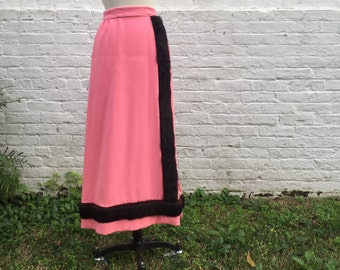 Pink Pencil Skirt {Custom-Made} High-Waisted with Brown Fur Trim // Long Pencil Skirt, Size 4/6