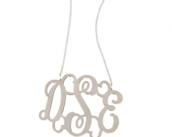 XL Sterling Silver Monogram FIligree Necklace - Interlocking Collection