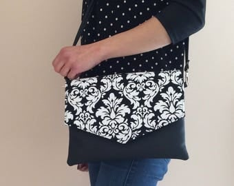 Envelope clutch damask bag black and white crossbody clutch