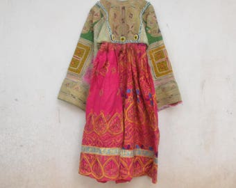 Gypsy Afghani kids dress, tribal, red maxi, beaded with brocade, coins, bells and tassels Pakistani kuchi Indian traditional nomad dress