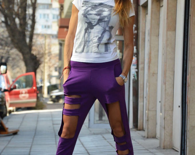 Summer Collection Loose Fit Pants, Extravagant Purple Pants, Low Bottom Pants, Oversize Maxi Pants By SSDfashion
