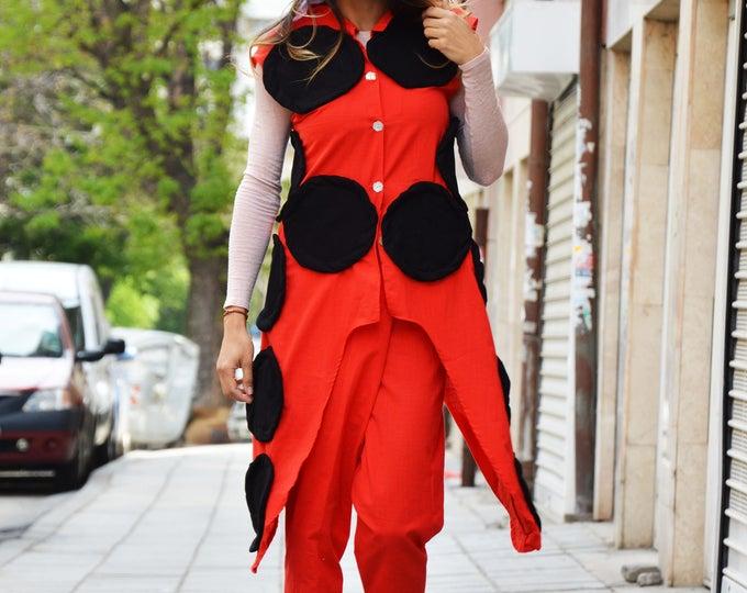 Sleeveless Woman Long Vest, Red Summer Linen Vest, Extravagant Waistcoat, Casual Handmade Vest By SSDfashion