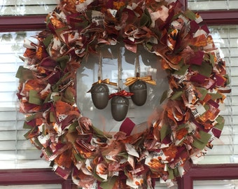 Holiday Wreath, Thanksgiving, Fall, Turkey Gobble Gobble, Acorns, Warm Fall Colors