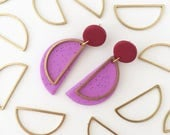 Half Circle Dangly Earrings in a two tone colour way - Polymer clay and Brass