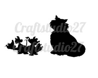 Digital file direct download Disney Cinderella mice and Lucifer the cat silhouettes for Cameo, Cricut etc. PDF, SVG and more.