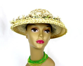 Women's Hat Yellow Straw Wide Brim Floral 1950s