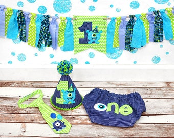 Little Monster Cake Smash Outfit - Little Guy Tie, Diaper Cover, Hat - Blue, Lime, Aqua Birthday - Banner Sold SEPARATELY