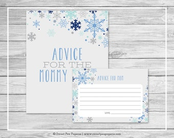 Winter Baby Shower Advice for Mom Cards - Printable Baby Shower Advice Cards - Baby It's Cold Outside Baby Shower - Advice for Mom - SP144