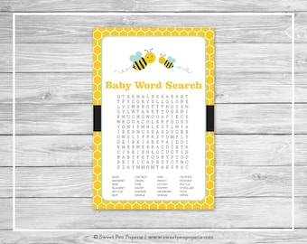 Bumble Bee Baby Shower Baby Word Search Game - Printable Baby Shower Word Search Game - Bumble Bee Baby Shower - Bee Shower Game - SP138