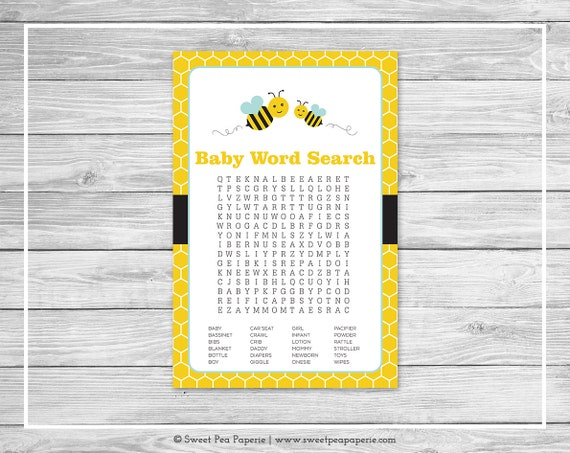 Bumble Bee Baby Shower Word Search Game