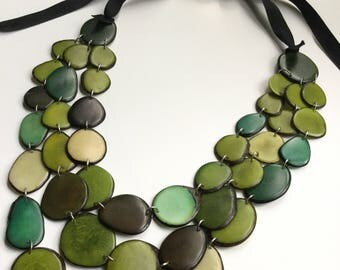 Tagua Necklace, Ecofriendly Necklace, Tagua Nut Necklace, Bib Necklace, Handmade Necklace, Gifts for Mom, Gifts for Her